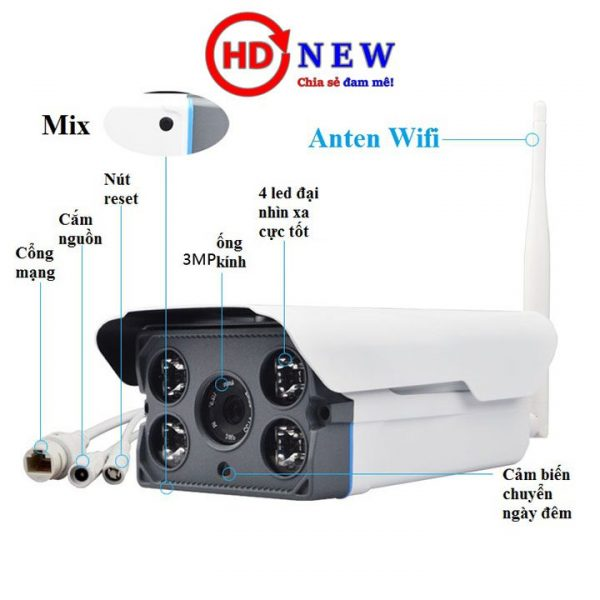 Camera Wifi Yoosee ngoài trời 1.3M có Loa và Mic