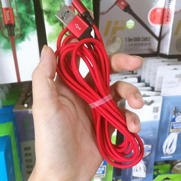 Cáp sạc dây dù Hoco X14 dài 2M – cổng microUSB (Hỗ trợ sạc nhanh) -Chính Hãng